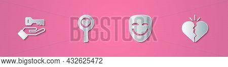 Set Paper Cut Solution To The Problem, Broken Heart Or Divorce, Comedy Theatrical Mask And Icon. Pap