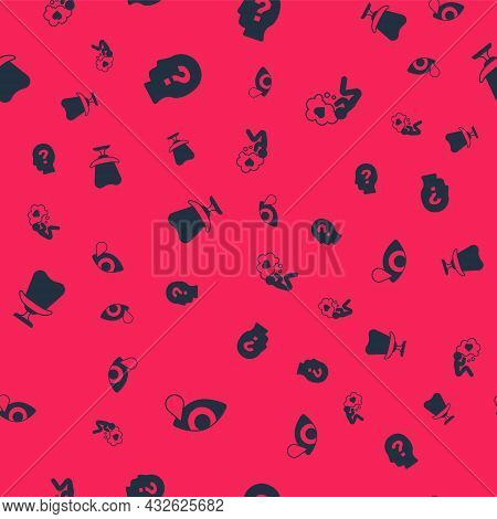 Set Tear Cry Eye, Head With Question Mark, Armchair And Heart On Seamless Pattern. Vector