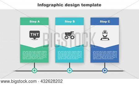 Set Dynamite, Mining Dump Truck And Miner Helmet. Business Infographic Template. Vector
