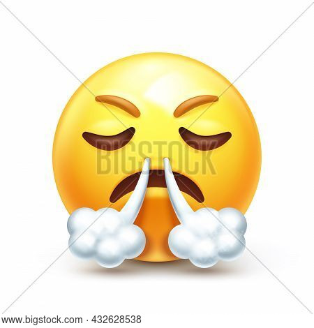 Angry Huffing Emoticon 3d Stylized Vector Icon