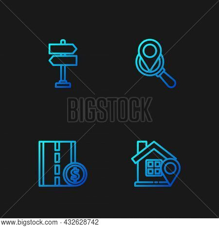Set Line Location With House, Toll Road Traffic Sign, Road And Search Location. Gradient Color Icons