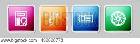 Set Line Cinema Poster, Microphone, Ticket And Camera Shutter. Colorful Square Button. Vector