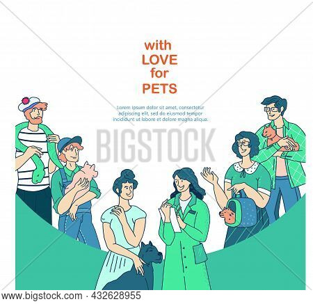 Veterinary Clinic Banner With Animals And Their Owners At Veterinary Appointment, Flat Vector Illust