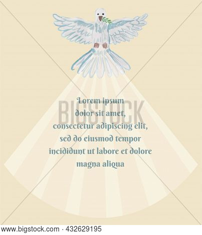 A Dove With A Twig In Its Beak With Outstretched Wings Emits A Beam Of Light. Simple Vector Religiou