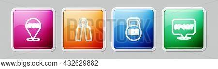Set Line Location Gym, Sport Expander, Kettlebell And . Colorful Square Button. Vector