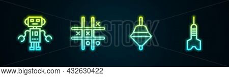 Set Line Robot Toy, Tic Tac Toe Game, Whirligig And Dart Arrow. Glowing Neon Icon. Vector