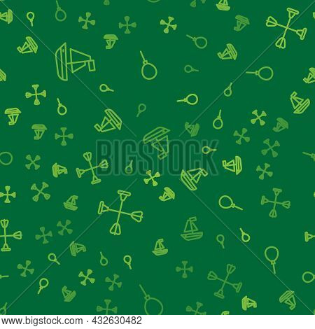 Set Line Toy Boat, Arrow With Sucker Tip And Balloons Ribbon On Seamless Pattern. Vector