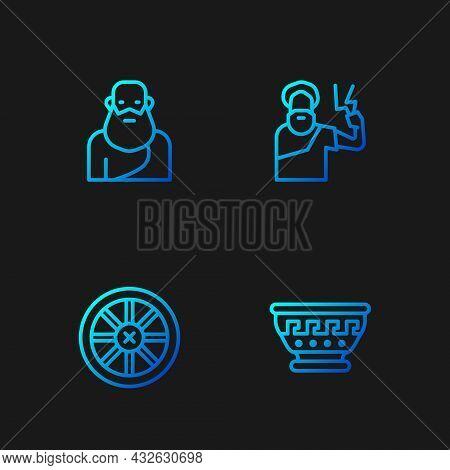Set Line Greek Ancient Bowl, Old Wooden Wheel, Socrates And Zeus. Gradient Color Icons. Vector