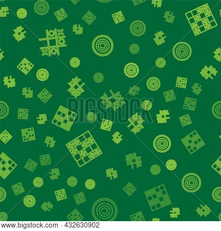 Set Line Tic Tac Toe Game, Board Of Checkers And Checker Chips On Seamless Pattern. Vector