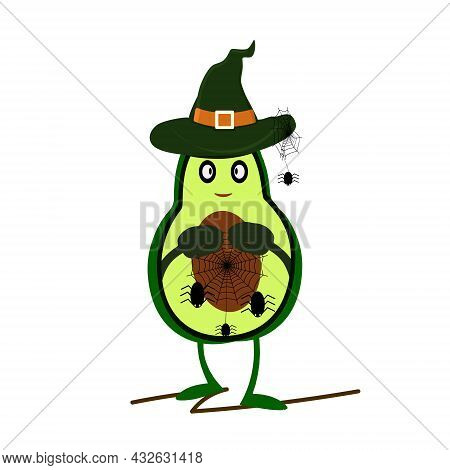Avocado Goes To Halloween. Dressed As A Wedbma And Took A Spider Web With Him. Green And Light Green