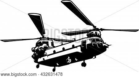 Military Helicopter Detailed Silhouette. Isolated On A White Background