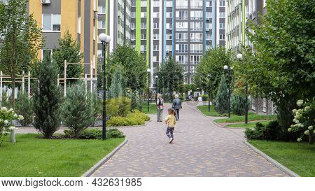 Apartment Buildings In A New Modern Residential Complex. Modern Architecture. Social Housing. The Te