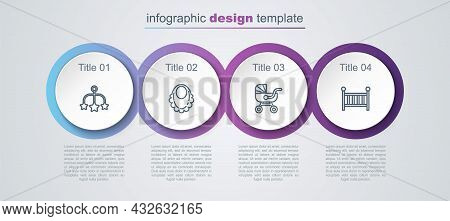 Set Line Baby Crib Hanging Toys, Bib, Stroller And Cradle. Business Infographic Template. Vector