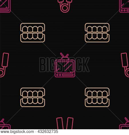Set Line Sport Expander, False Jaw And Retro Tv On Seamless Pattern. Vector