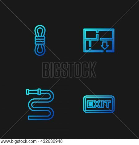 Set Line Fire Exit, Hose Reel, Climber Rope And Evacuation Plan. Gradient Color Icons. Vector