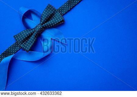 Blue Prostate Ribbon. Awareness Prostate Cancer Of Men Health In November. Blue Ribbon, Fashion Bowt