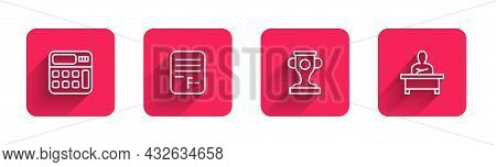 Set Line Calculator, Exam Paper With Incorrect Answers, Award Cup And Schoolboy Sitting Desk With Lo
