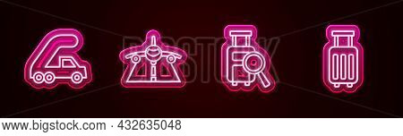Set Line Passenger Ladder For Plane Boarding, Plane, Lost Baggage And Suitcase. Glowing Neon Icon. V