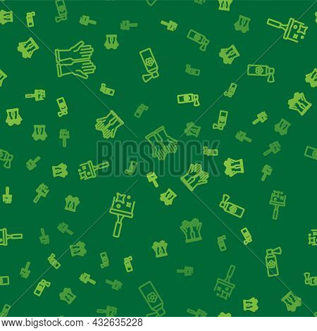 Set Line Rubber Gloves, Cleaner For Windows And Air Freshener Spray Bottle On Seamless Pattern. Vect