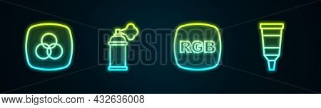 Set Line Rgb And Cmyk Color Mixing, Paint Spray Can, And Tube With Paint Palette. Glowing Neon Icon.