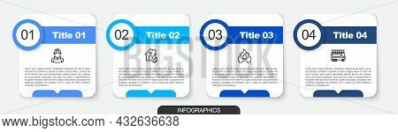 Set Line Firefighter, In Burning House, Burning Car And Truck. Business Infographic Template. Vector