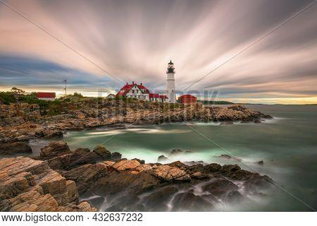 Cape Elizabeth, Maine, USA at Portland Head Light at dusk.