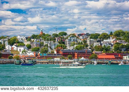 Portland, Maine, USA coastal townscape on Portland Harbor.