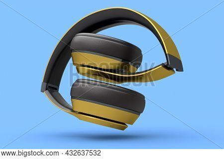 Gold Gaming Headphones And Concept Of Music Equipment Isolated On Blue .
