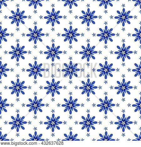 Azulejos Portuguese Traditional Ornamental Tile, Blue And White Seamless Pattern. Vector Illustratio