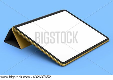 Computer Tablet With Gold Cover Case And Pencil Isolated On Blue Background.