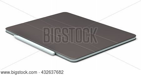 Computer Tablet With Leather Cover Case And Pencil Isolated On White Background