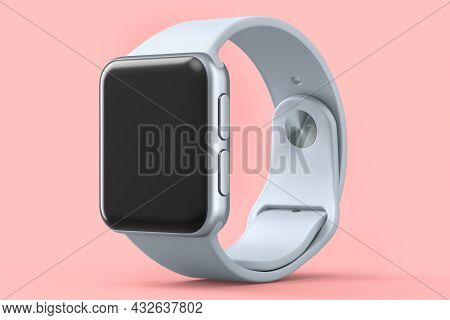 Stainless Silver Smart Watch Or Fitness Tracker Isolated On Pink Background.