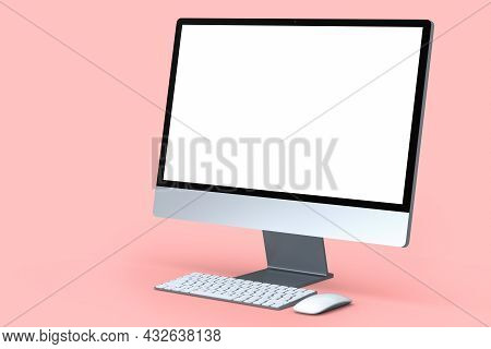 Realistic Grey Computer Screen Display With Keyboard And Mouse Isolated On Pink