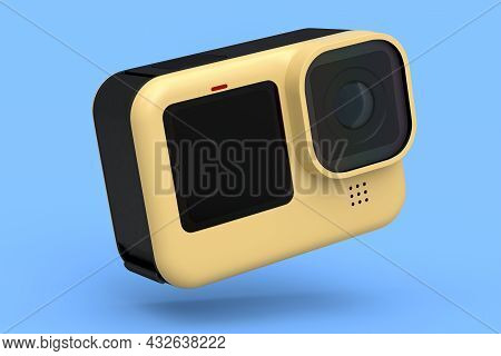 Photo And Video Lightweight Yellow Action Camera With Display On Blue