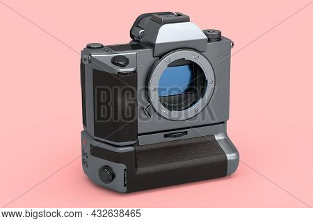 Concept Of Nonexistent Silver Dslr Camera Isolated On Pink Background.