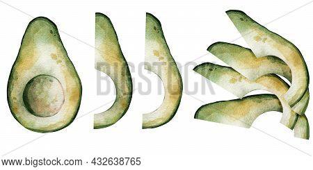 Watercolor Set Of Green Avocado. Half An Avocado, Half An Avocado. Summer Fresh Illustration. Suitab