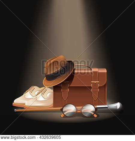 Gentleman Accessories Set With Realistic Briefcase Shoes Bowler Hat Stick And Glasses Vector Illustr