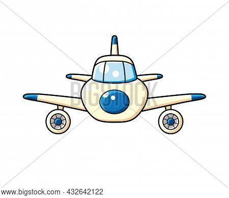 Jet Airplane Front View Isolated Cartoon Vector.