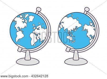 Globe Vector Icon Isolated, Western And Eastern Hemisphere.