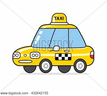 Yellow Taxi Cab Isolated Cartoon Vector Icon.