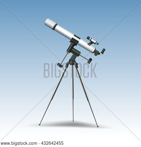Realistic Telescope Astronomy Instrument Isolated On Blue Background Vector Illustration