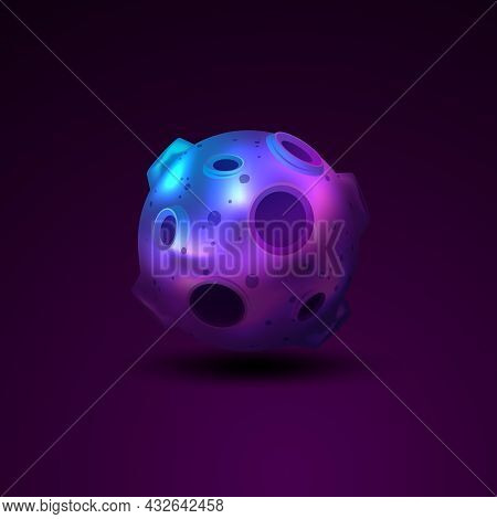 Planet 3d Sphere With Craters Isolated On Dark Background Vector Illustration