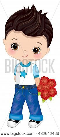 Cute Little Boy Wearing Jeans And T-shirt Holding Bunch Of Roses. Cute Boy Is Dark-haired With Hazel