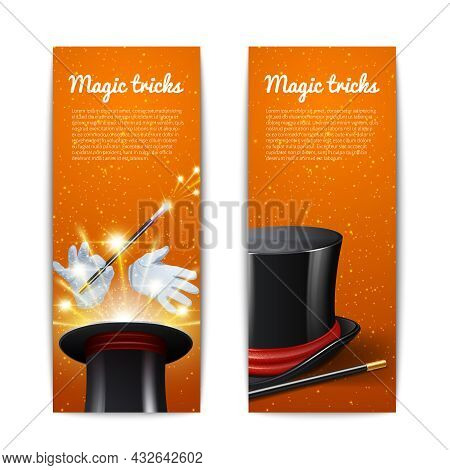 Magic Trick Vertical Banners Set With Magician Cylinder Stick And Gloves Isolated Vector Illustratio