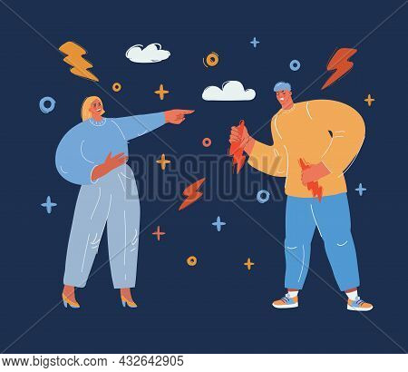 Vector Illustration Of 2 Laughing People Over Dark Backround.
