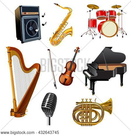 Musical Instruments Decorative Icons Set With Guitar Drum Harp Piano Violin Isolated Vector Illustra