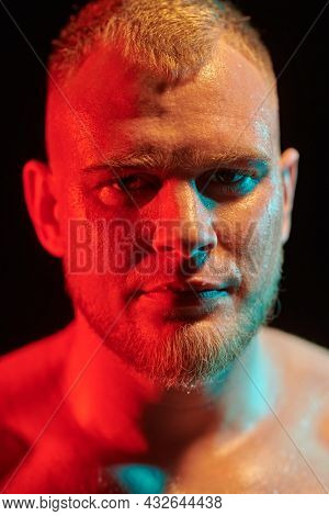 Close-up portrait of a strong and powerful man weightlifter looking confidently at the camera. Professional sports, champion. Black background.