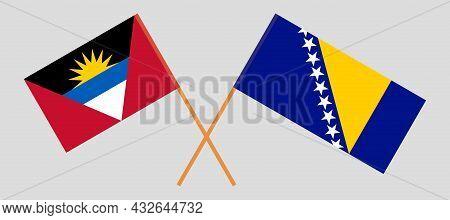 Crossed Flags Of Antigua And Barbuda And Bosnia And Herzegovina