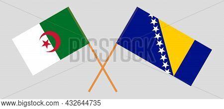 Crossed Flags Of Bosnia And Herzegovina And Algeria