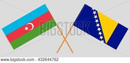 Crossed Flags Of Bosnia And Herzegovina And Azerbaijan